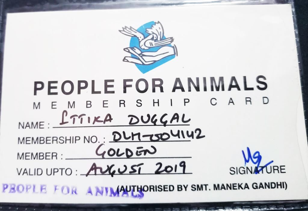 People for Animals PFA membership card