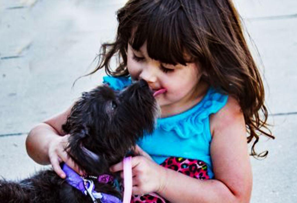 Dog cuddling with a baby girl