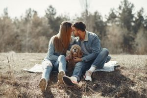 animal lover couple and dog